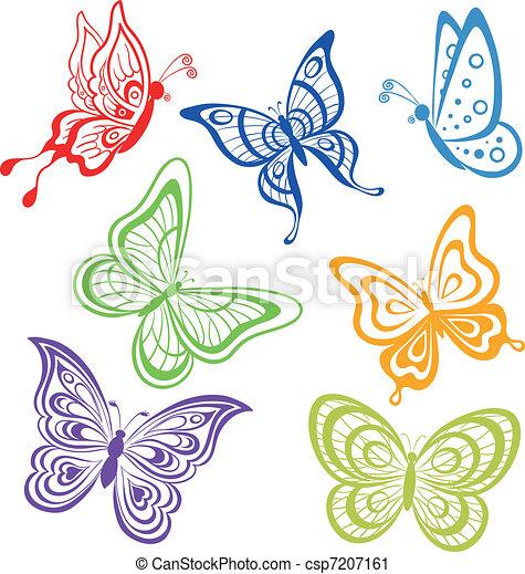 Butterflies, coloured contours. Vector, set various symbolical ...