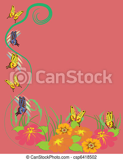 Butterflies, flowers background - csp6418502