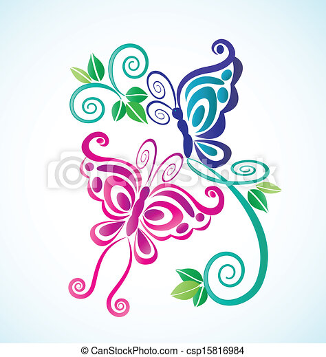 Butterflies frame background - csp15816984