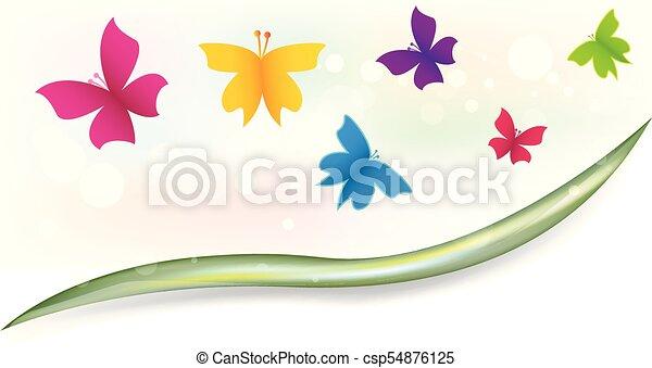 Butterflies garden colorful template - csp54876125