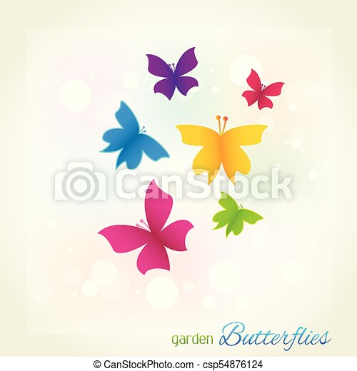 Butterflies garden cover template - csp54876124