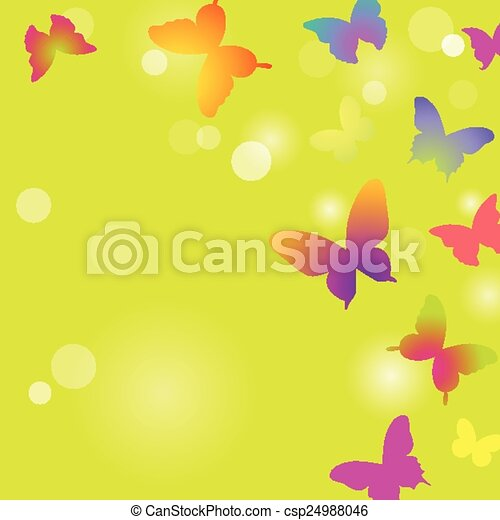 Butterflies on a green background - csp24988046