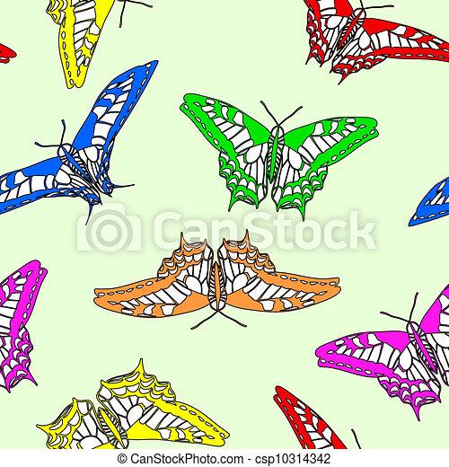 Butterflies seamless wallpaper. Vector illustration. - csp10314342