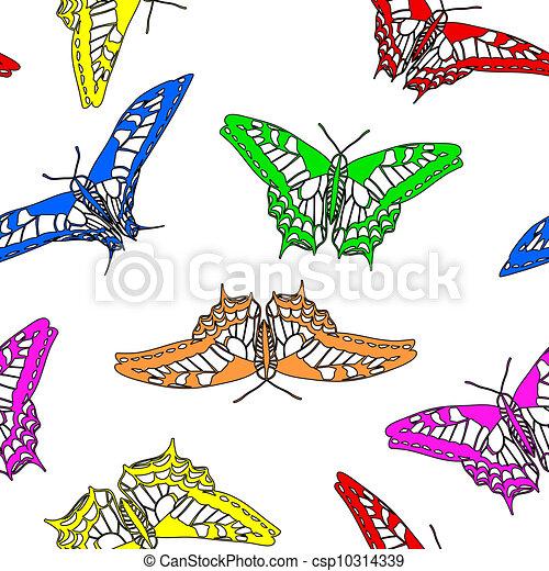 Butterflies seamless wallpaper. Vector illustration. - csp10314339