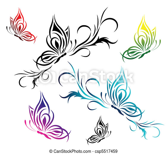 Butterflies with a flower pattern - csp5517459