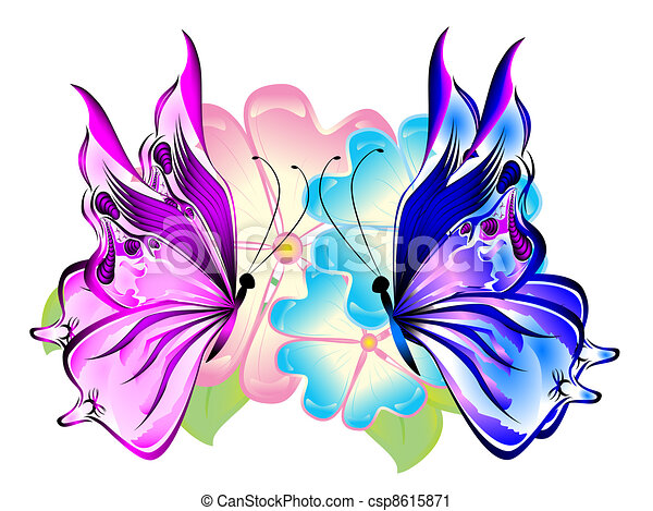 Butterflies With Flowers Abstract Beautiful Butterfly
