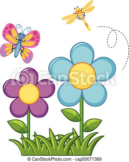 butterfly and dragonfly in flower garden illustration clip art rh canstockphoto com flower garden clip art images free flower garden clip art borders