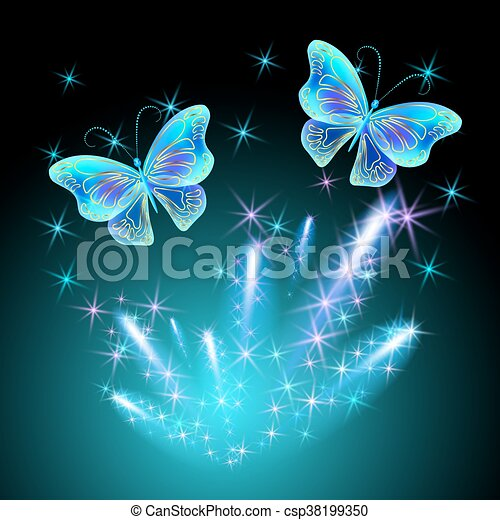 Butterfly and glowing salute - csp38199350
