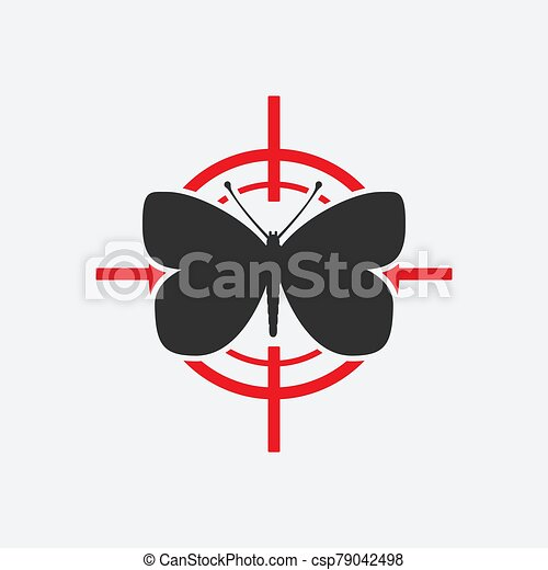 Butterfly black silhouette on a red target - csp79042498