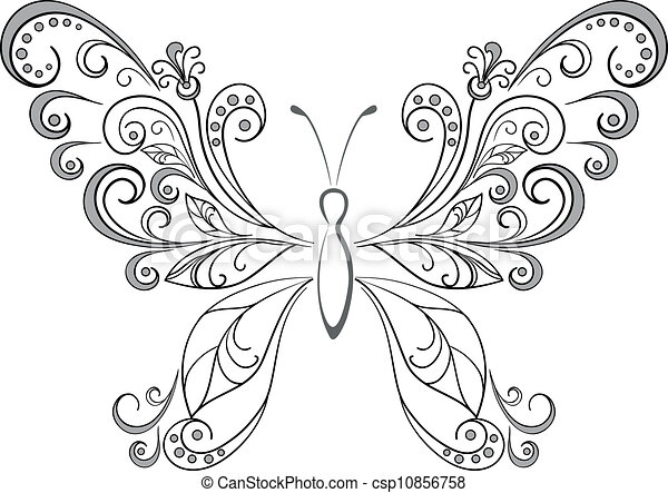 Butterfly, black silhouettes - csp10856758