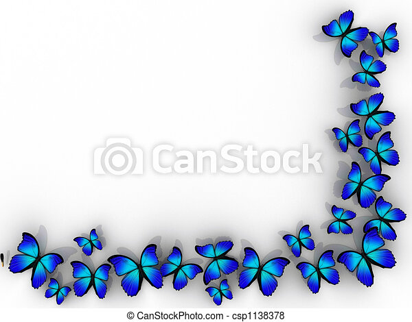 Butterfly border. Butterfly frame on white background - rendered in 3d.