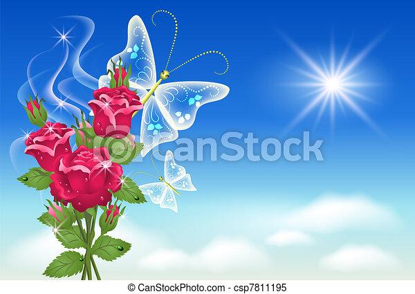 butterfly., céu, rosas - csp7811195