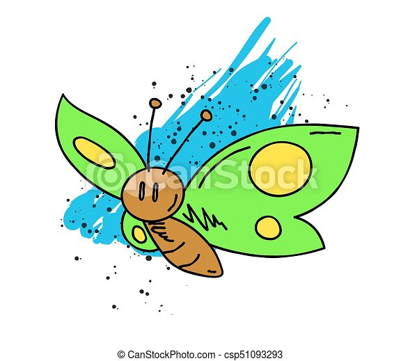 Butterfly cartoon hand drawn image - csp51093293