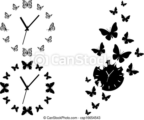butterfly clocks, vector set - csp16654543