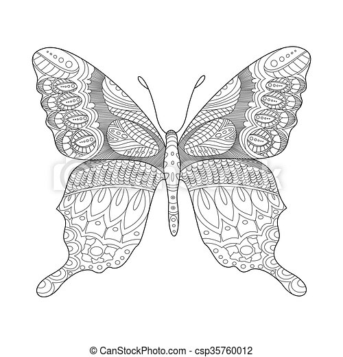 Butterfly coloring book for adults vector illustration. anti-stress ...