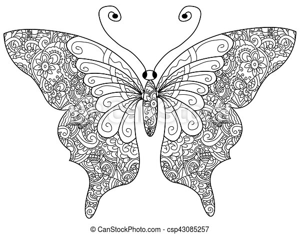 Butterfly Coloring Book Vector For Adults