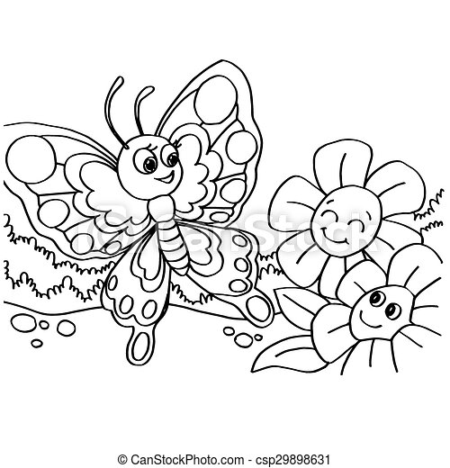 butterfly coloring pages vector - csp29898631