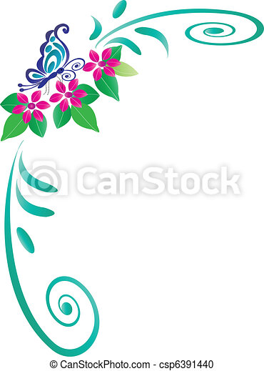 Butterfly frame. Frame of butterfly with pink flowers and swirl leaves.