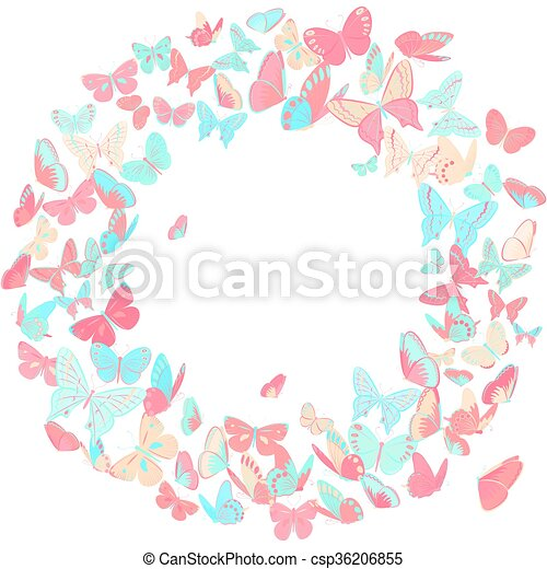 Butterfly frame, wreath design element in pink and blue. Butterfly ...