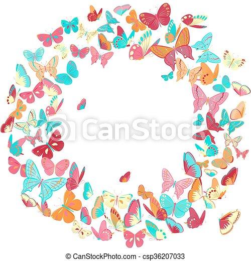 Butterfly frame, wreath design element, retro banner. Butterfly ...
