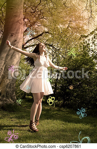 butterfly girl - csp6207861