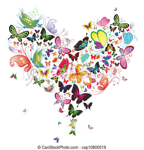 Butterfly heart, valentine illustration. Element for design - csp10800519