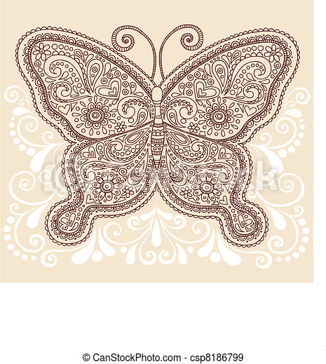 4ea9226e992da Butterfly henna paisley doodle. Hand-drawn ornate butterfly henna ...