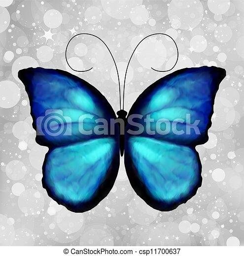 Butterfly In Blue Tones. Vector - csp11700637