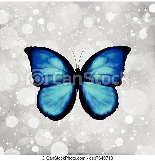 Butterfly In Blue Tones. Vector - csp7640713