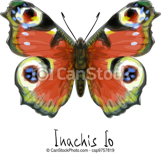 Butterfly Inachis Io. Watercolor imitation. - csp9757819