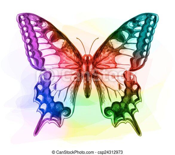 Butterfly. Iridescen colours.  - csp24312973