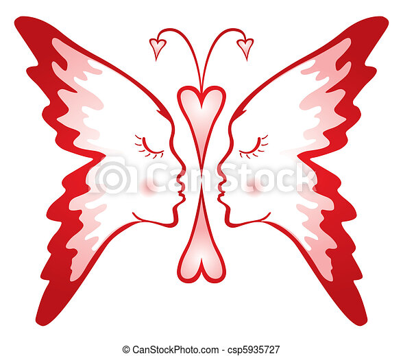 Butterfly Of Love Two Faces Composed Into Shape