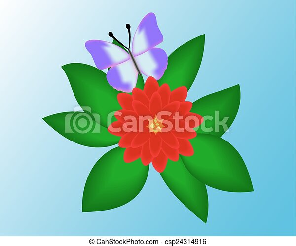 Butterfly on a flower background. - csp24314916