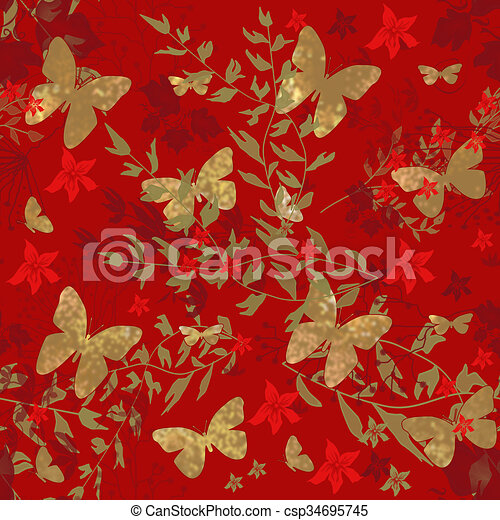 Butterfly on red floral seamless pattern - csp34695745