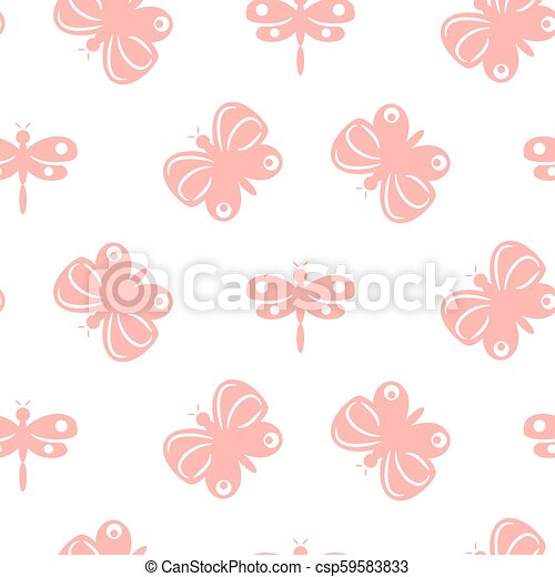 Butterfly pink pastel baby seamless vector pattern. - csp59583833