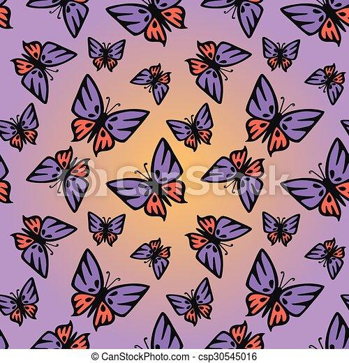 Butterfly pink-purple seamless  - csp30545016