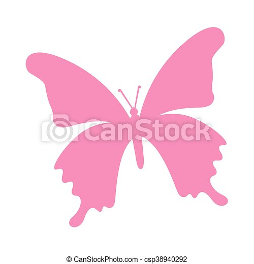 butterfly pink silhouette icon - csp38940292