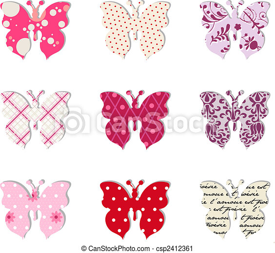 Butterfly set. Pink, red and warm tones. - csp2412361