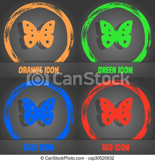 Butterfly sign icon. insect symbol. Fashionable modern style. In the orange, green, blue, red design. Vector - csp30520632