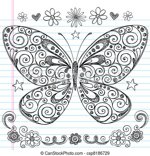 Butterfly Sketchy Doodle Vector - csp8186729