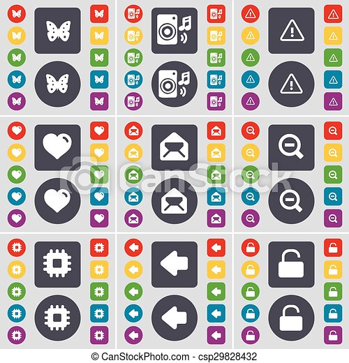 Butterfly, Speaker, Warning, Heart, Message, Magnifying glass, Processor, Arrow left, Lock icon symbol. A large set of flat, colored buttons for your design. Vector - csp29828432