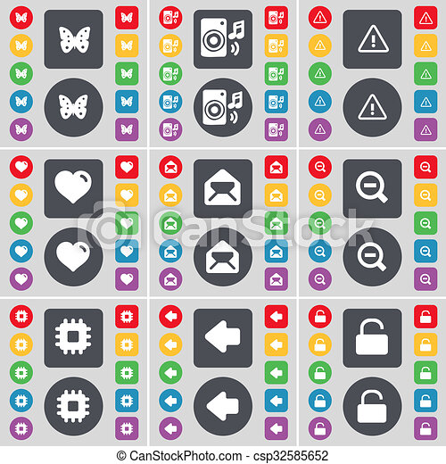 Butterfly, Speaker, Warning, Heart, Message, Magnifying glass, Processor, Arrow left, Lock icon symbol. A large set of flat, colored buttons for your design. - csp32585652