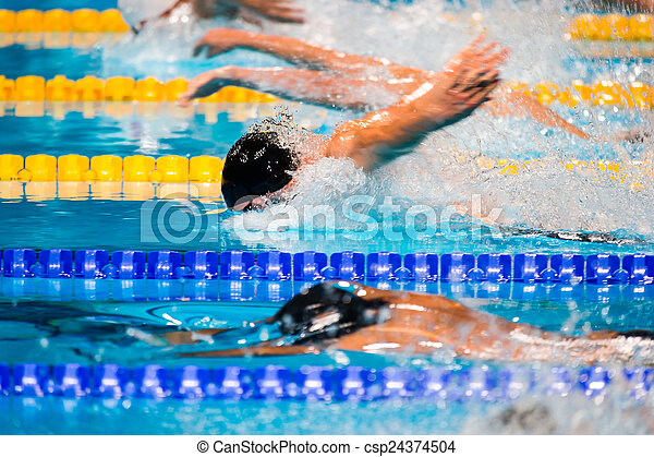 Butterfly swimming race - csp24374504