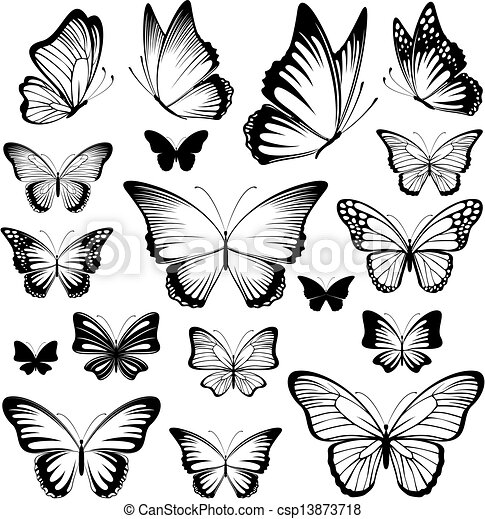 butterfly tattoo silhouettes - csp13873718