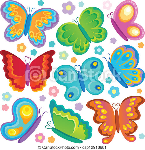 Butterfly theme collection 1 - csp12918681