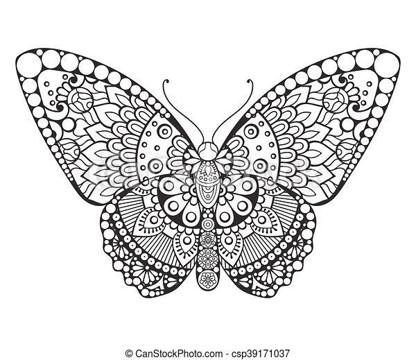 Butterfly. Vintage decorative elements - csp39171037