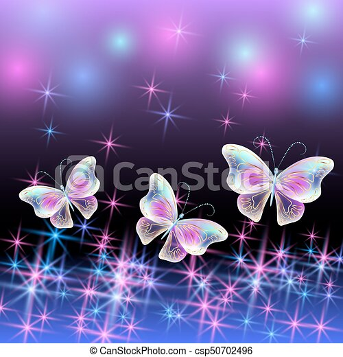 Butterfly with glowing firework - csp50702496