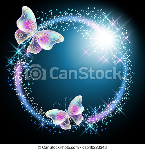 Butterfly with glowing firework - csp48223348