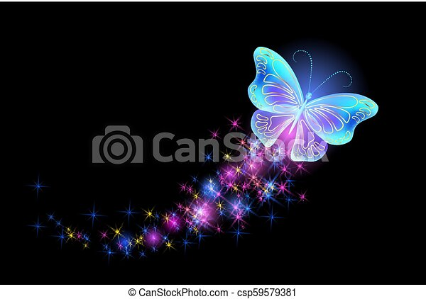 Butterfly with glowing firework - csp59579381