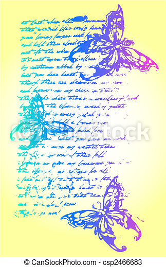 butterfly with letter backdrop illustration - csp2466683